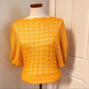 Goldenrod crochet dolman batwing blouse top